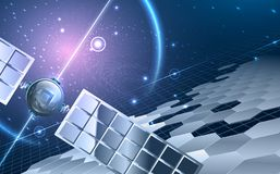 Abstract universe with satellite. Abstract universe theme. Including Satellite ,stars, hexagon segments, space with violet glow, solar panels. Used a clipping royalty free illustration
