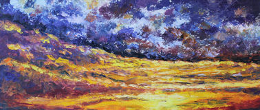 Abstract universes on the edge of land, oil painting Stock Image