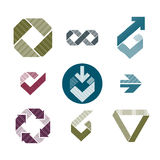 Abstract unusual lined vector icons set, creative symbols collection, stylish templates. stock illustration