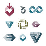 Abstract unusual lined vector symbols set, creative stylish icon Stock Photo