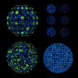 Abstract unusual net with light effects design illustrations set. Disco vector luminous Ball. Stock Images