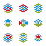 Abstract unusual vector symbols set, creative stylish icon templ Stock Photos