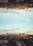 Upside down city stock images