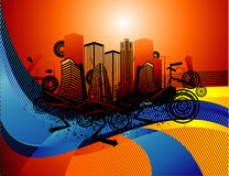 Abstract urban. Composition illustration over an orange background Royalty Free Stock Image
