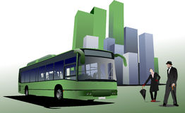 Abstract urban background with city bus image Royalty Free Stock Photo
