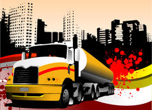 Abstract urban background with lorry image. Royalty Free Stock Images