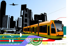 Abstract urban hi-tech background with tram on city background. Royalty Free Stock Images