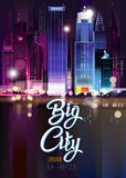Abstract urban night landscape. With parts of buildings ,lights cars,city,metropolis. Vector background. Effect blur, bokeh, light point, color flows. The world Stock Images