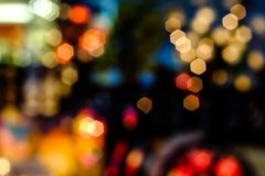Abstract urban night light bokeh. Defocused background royalty free stock images
