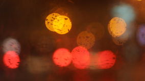 Abstract urban night light bokeh, defocused background. Abstract urban night light bokeh stock video footage