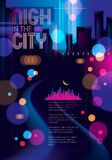 Abstract urban night light bokeh , defocused background. Effect. Vector beautiful background. Blur colorful dark background with cityscape, buildings Royalty Free Stock Photography