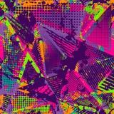 Abstract urban seamless pattern. Grunge texture background. Scuffed drop sprays, triangles, dots, neon spray paint. Splash. Urban modern dirty dark wallpaper Stock Photography