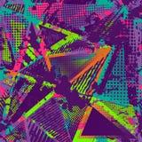 Abstract urban seamless pattern. Grunge texture background. Scuffed drop sprays, triangles, dots, neon spray paint, splash. Urban Royalty Free Stock Photos