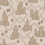 Abstract urban seamless pattern. Landscape with city blocks. Vector background. royalty free illustration