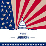 Abstract USA  banner. USA presidential election day concept with american flag on background in flat style. White house and Capitol building light silhouette Stock Photos