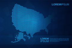 Abstract USA map with Blue Polygonal Space Background with Connecting Lines. Usable for technology background stock illustration
