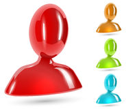Abstract user color glossy icon Stock Image