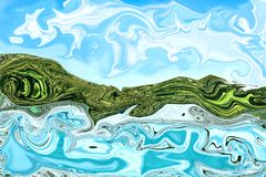 Abstract and  using oil paint and see strange difference. That look like nature. With mountain and ocean view, and used as the background Royalty Free Stock Photography