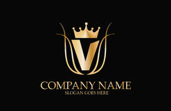 Abstract V Elegant Logo Design Royalty-vrije Stock Afbeelding