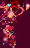 Abstract valentine background. Beautiful abstract background with hearts and bright multicolor lines Vector Illustration