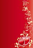 Abstract valentine background. Vector Red ornate abstract background with  hearts Royalty Free Stock Photos