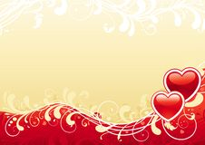 Abstract valentine background. Vector Ornate abstract background with two hearts and floral elements Stock Images