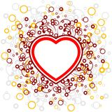 Abstract Valentine card with scrolls, heart shape, circles - vec. Tor illustration stock illustration