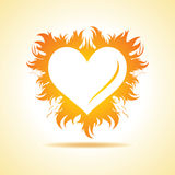 Abstract valentine day card with fire heart background. Vector illustration Stock Photos