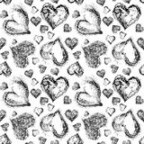 Abstract Valentine heart seamless pattern. Grunge splash draw paint Stock Photos