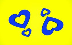 Abstract Valentine Heart Shape Blue en Gele Patroonachtergrond Royalty-vrije Illustratie