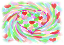Abstract Valentine Image of Colorful Hearts Stock Photography