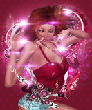 Abstract valentine music girl Stock Photography