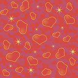Abstract Valentine's day background with many red hearts and the stars Royalty Free Stock Photo