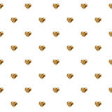 Abstract Valentine`s Day hearts. Gold glittering hearts. Seamless background for your design. Vector illustration. Love concept. C Royalty Free Stock Photos