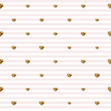 Abstract Valentine s Day hearts. Gold glittering hearts. Seamless stripped background  Stock Photography