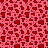 Valentine`s Day seamless pattern with hearts, man and woman symbols. Abstract Valentine`s Day seamless pattern with hearts, man and woman symbols of red shades Stock Image