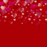 Abstract Valentine s Day vector background. Transparent hearts on a dark red . Usable for design greeting card, banner Stock Photos