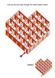 Heart shaped rooms and doors maze game Royalty Free Stock Photos