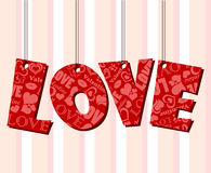 Abstract Valentine text frame with hanged letters Stock Photography