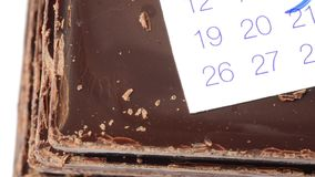 Abstract valentine time date. Chocolate and valentine date circled stock video