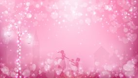 Abstract valentines background as  street view in romantic moment. Contains pastel color tone,street lamp with fairy lights, transparent town background,a Royalty Free Stock Image