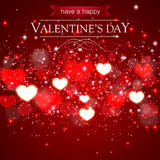 Abstract Valentines day card with blurred hearts and sparkles. Vector illustration Stock Photo