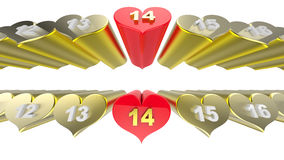 Abstract Valentines Day Concept. 3d illustration Royalty Free Stock Image