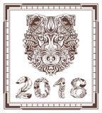 Abstract van de hondhoofd en vogelveer symbool 2018 jaar Royalty-vrije Stock Afbeeldingen