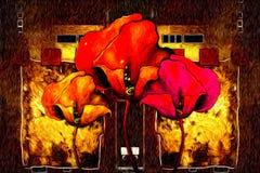Abstract van de de pretkunst van het bloemolieverfschilderij de illustratieontwerp royalty-vrije illustratie
