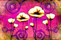 Abstract van de de pretkunst van het bloemolieverfschilderij de illustratieontwerp stock illustratie