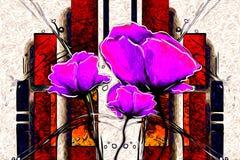 Abstract van de de pretkunst van het bloemolieverfschilderij de illustratieontwerp vector illustratie
