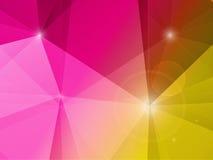 Abstract van het veelhoekmozaïek roze en geel landschap als achtergrond Stock Fotografie