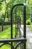 Abstract vanishing decorative wrought iron fence Royalty Free Stock Image