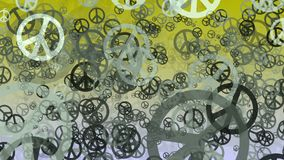 Abstract variables Peace symbols on yellow stock footage